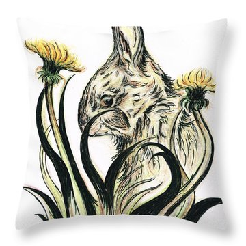 Rabbit- Amongst The Dandelions Throw Pillow by Teresa White