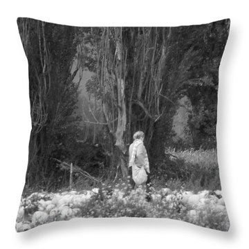 Amongst The Pumpkins Throw Pillow