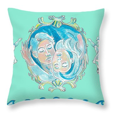 Throw Pillow featuring the painting Amor In Aqua by John Keaton