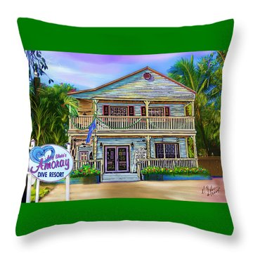 Amoray Dive Resort Throw Pillow by Gerry Robins