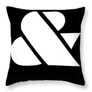 Ampersand Black And White Throw Pillow by Naxart Studio