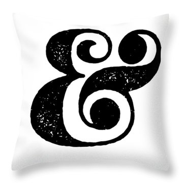 Ampersand Poster White Throw Pillow by Naxart Studio