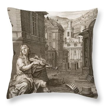 Amphion Builds The Walls Of Thebes Throw Pillow by Bernard Picart