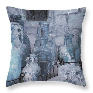Amphora In Blue Throw Pillow by Ann Johndro-Collins