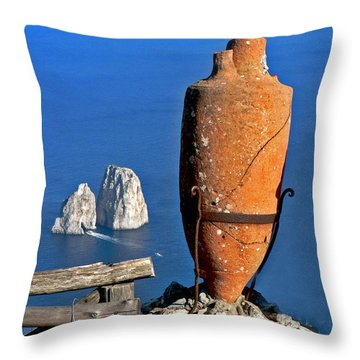 Amphora On The Island Of Capri 2 Throw Pillow