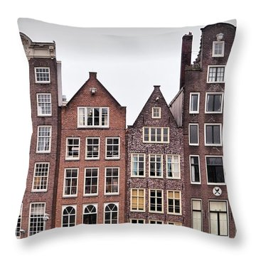Amsterdam Apartments Throw Pillow by Mick Flynn