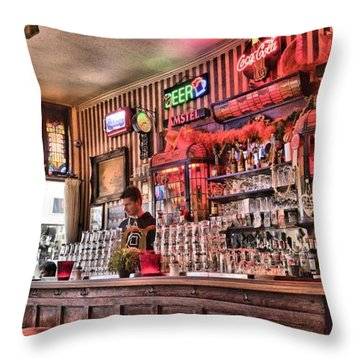 Throw Pillow featuring the photograph Amsterdam Bar by Mick Flynn