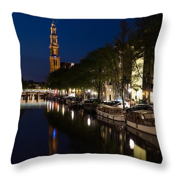 Amsterdam Blue Hour Throw Pillow