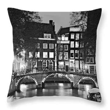 Amsterdam Bridge At Night / Amsterdam Throw Pillow