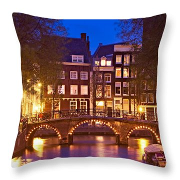 Amsterdam Bridge At Night Throw Pillow