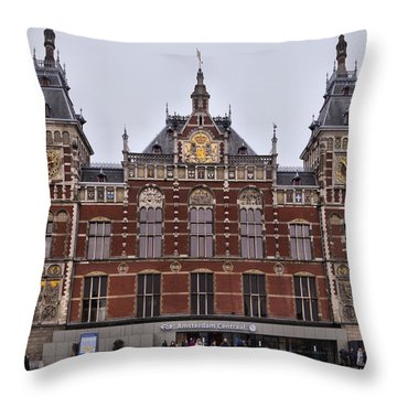 Throw Pillow featuring the photograph Amsterdam Centraal Railway Station by Mick Flynn