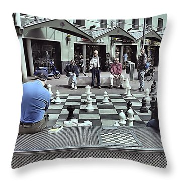 Throw Pillow featuring the photograph Amsterdam Chess Game by Steven Richman