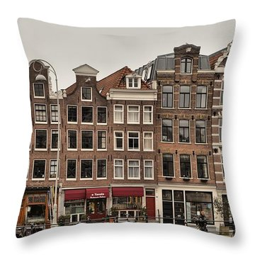 Throw Pillow featuring the photograph Amsterdam Harbour Houses by Mick Flynn