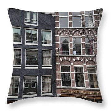 Amsterdam Hash Museum Throw Pillow by Mick Flynn