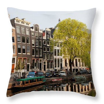 Amsterdam Houses Along The Singel Canal Throw Pillow