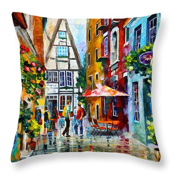 Amsterdam Street Throw Pillow by Leonid Afremov