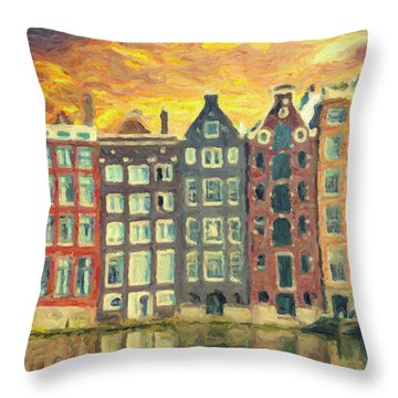 Throw Pillow featuring the painting Amsterdam by Taylan Apukovska