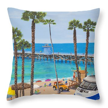 Throw Pillow featuring the painting Perfect Beach Day by Mary Scott