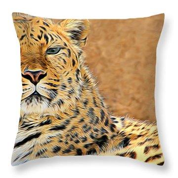Throw Pillow featuring the photograph Amur Leopard Elegance by Diane Alexander