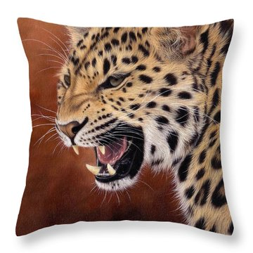 Amur Leopard Painting Throw Pillow by Rachel Stribbling