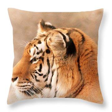 Amur Tiger Throw Pillow by Karol Livote