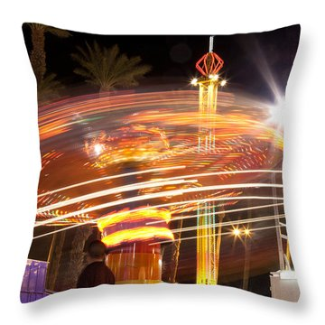 Amusement Park Ride Swirls  Throw Pillow by Matthew Bamberg