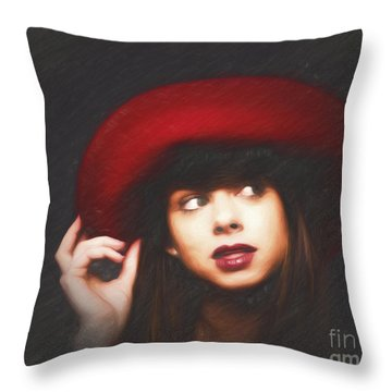 Amy And The Red Hat  ... Throw Pillow