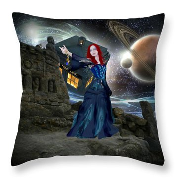 Amy And The Tardis Throw Pillow