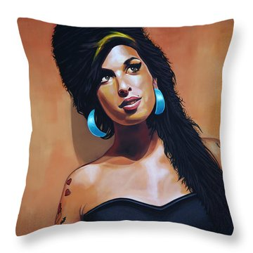 Amy Winehouse Throw Pillow by Paul Meijering