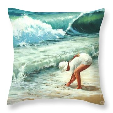 Amy's Treasure Throw Pillow by Madeleine Holzberg