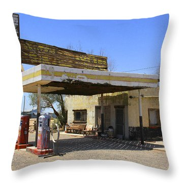 An Abandon Gas Station On Route 66 Throw Pillow by Mike McGlothlen