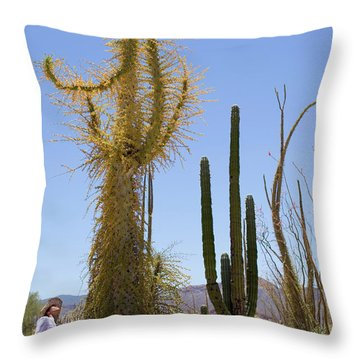 An Adult Woman Stares Up In Awe Throw Pillow