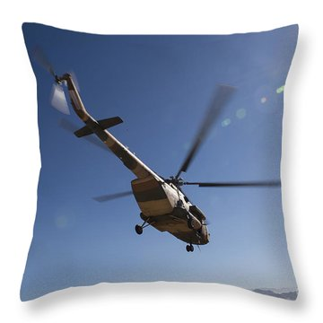 An Afghan Air Force Mil Mi-17 Throw Pillow