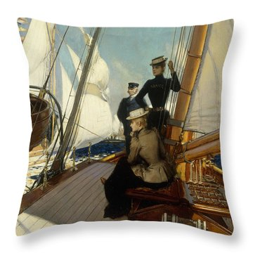 An Afternoon At Sea  Throw Pillow by Albert Lynch