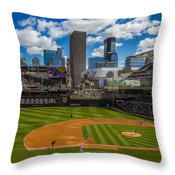 An Afternoon At Target Field Throw Pillow by Tom Gort