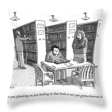 An Aged Librarian Speaks To A Man Reading A Book Throw Pillow