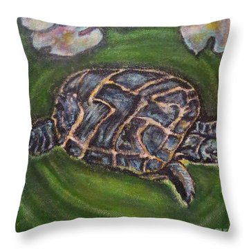 Throw Pillow featuring the painting An Agent Of Change Turtle Causing Ripples In A Pond by Kimberlee Baxter