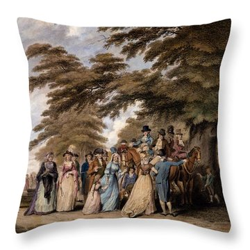 An Airing In Hyde Park, 1796 Throw Pillow by Edward Days