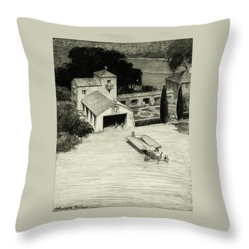 An Airplane Hangar Throw Pillow