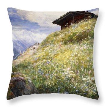 An Alpine Meadow Switzerland Throw Pillow by John  MacWhirter