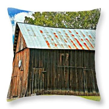 An American Barn 2 Oil Throw Pillow by Steve Harrington