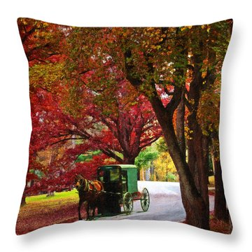 An Amish Autumn Ride Throw Pillow by Lianne Schneider