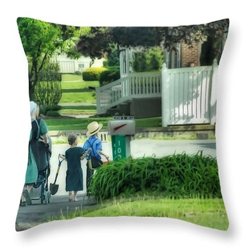 Little Amish Gardeners Throw Pillow