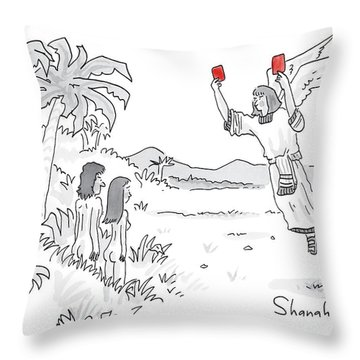 An Angel Holds Up Two Red Cards To Adam And Eve Throw Pillow