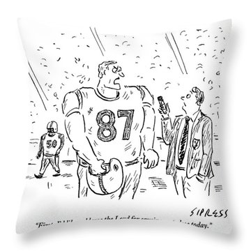 An Angry Football Player Is Being Interviewed Throw Pillow