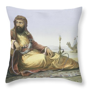 An Arab Resting In The Desert, Title Throw Pillow