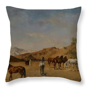 An Arabian Camp Throw Pillow by Eugene Fromentin