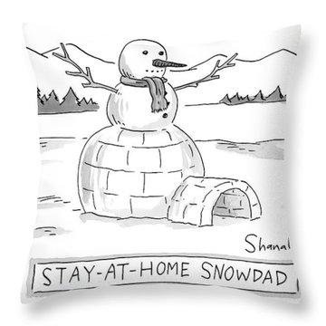 An Arctic Igloo With A Snowman Top Throw Pillow