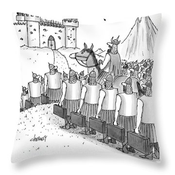 An Army Of Vikings Hold Briefcases Throw Pillow