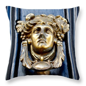 Throw Pillow featuring the photograph An Art Nouveau Welcome by Jean Haynes